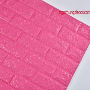 Xốp dán tường 3D giả gạch màu Hồng Đậm